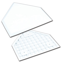 White Molded Rubber Home Plate - Half Thickness - Retail Box